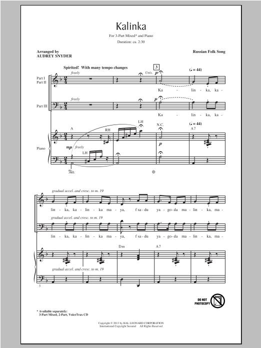 Partition chorale Kalinka (Little Snowball Bush) de Russian Folk Song - 3 voix mixtes