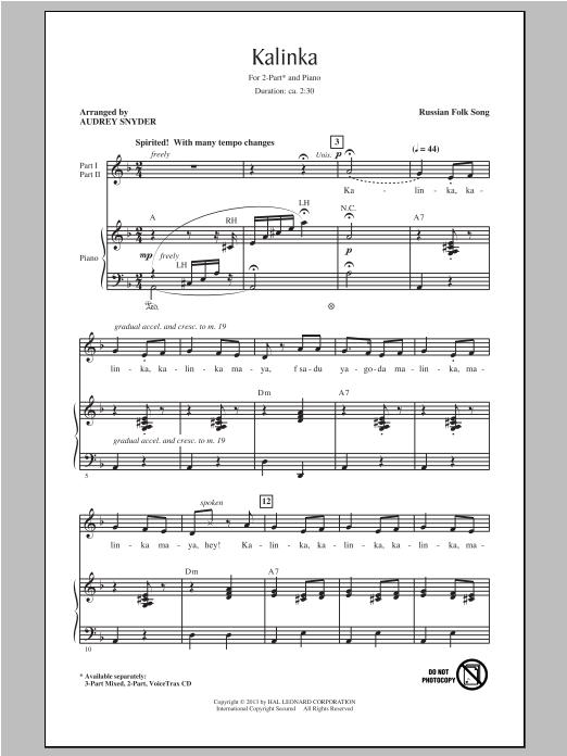 Partition chorale Kalinka (Little Snowball Bush) de Russian Folk Song - 2 voix