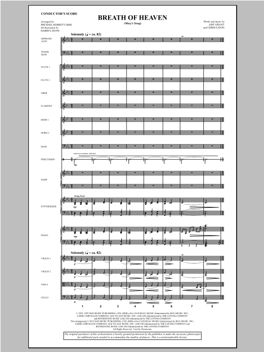 Breath Of Heaven (from All Is Well) (COMPLETE) sheet music for orchestra/band by Michael Barrett