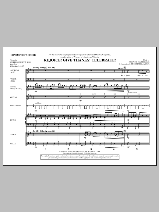 Rejoice! Give Thanks! Celebrate! (COMPLETE) sheet music for orchestra/band by Joseph M. Martin