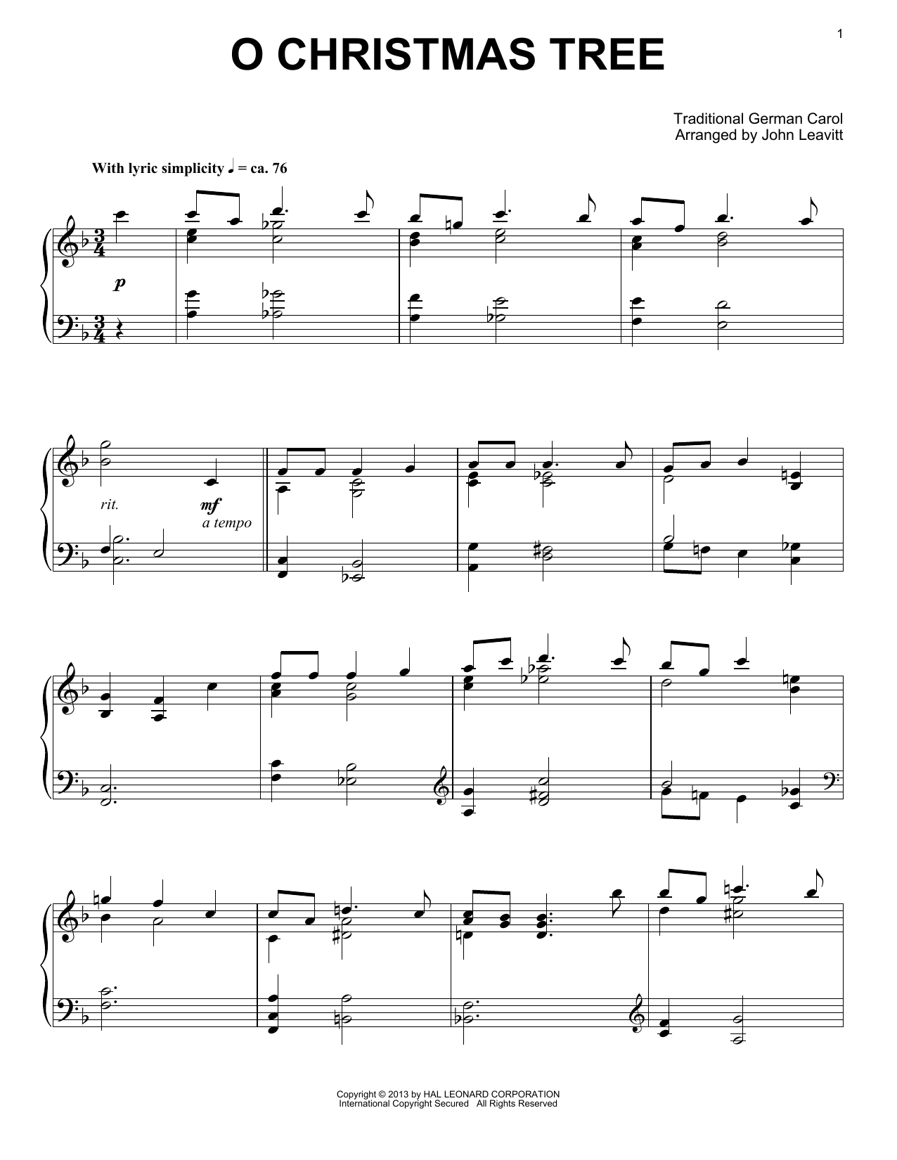 Partition piano O Christmas Tree de Traditional German Carol - Piano Solo