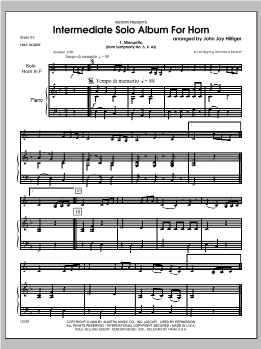 Intermediate Solo Album For Horn (COMPLETE) sheet music for horn and piano by Hilfiger