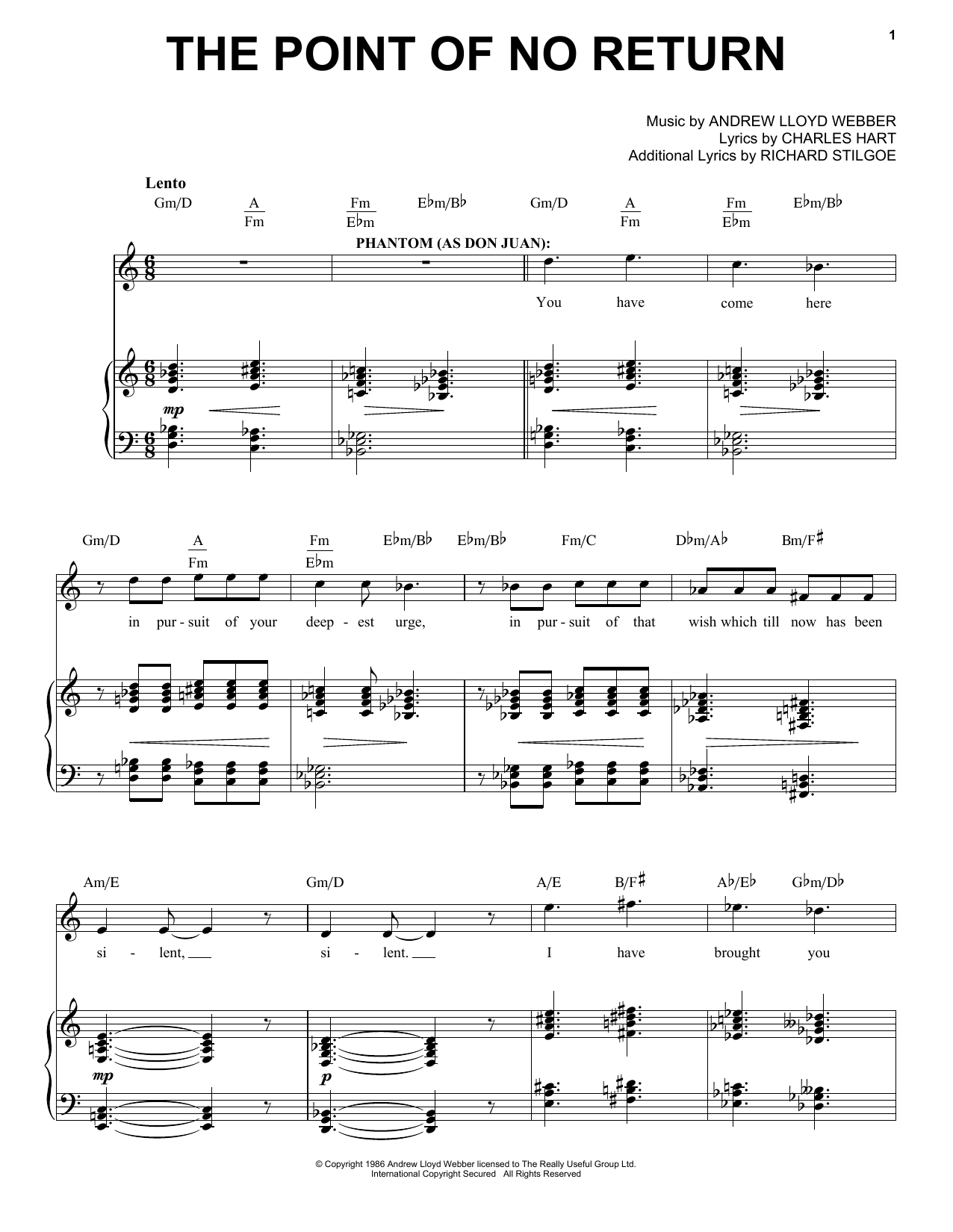 Partition piano The Point Of No Return de Andrew Lloyd Webber - Piano Voix