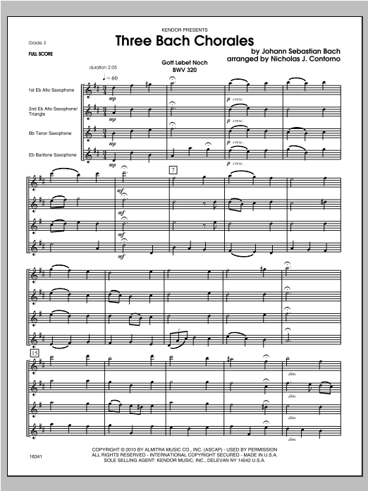 Three Bach Chorales (COMPLETE) sheet music for saxophone quartet by Contorno
