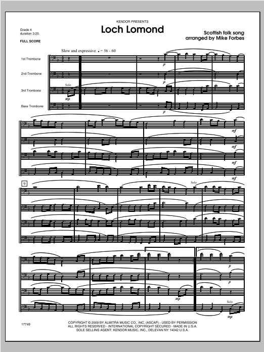 Loch Lomond (COMPLETE) sheet music for four trombones by Forbes