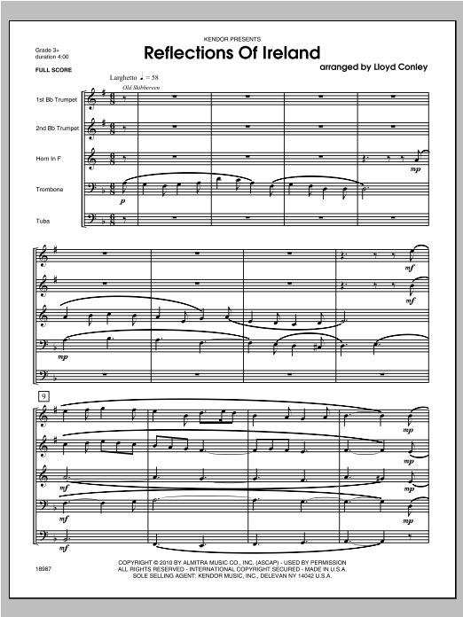 Reflections Of Ireland (COMPLETE) sheet music for brass quintet by Conley