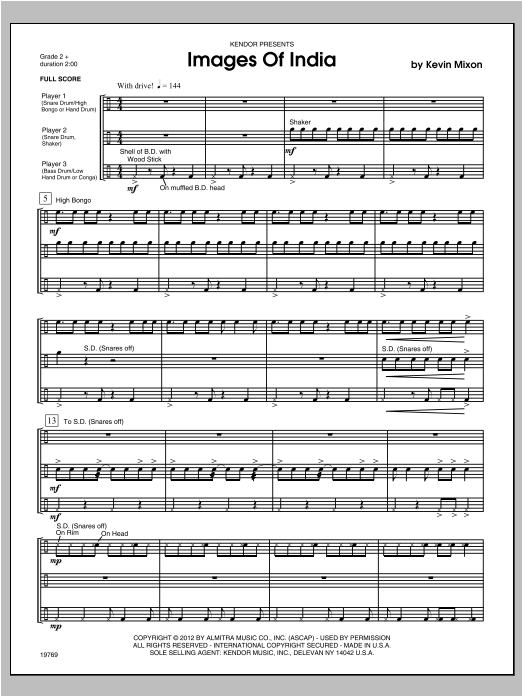 Images Of India (COMPLETE) sheet music for percussions by Mixon