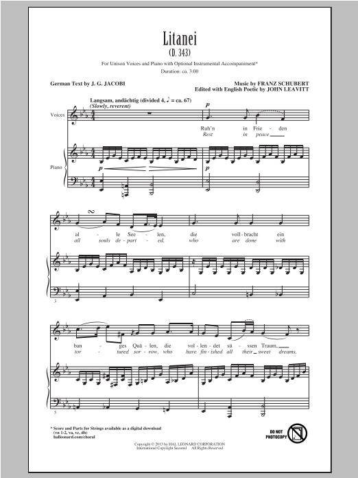 Partition chorale Litanei de John Leavitt - Unisson