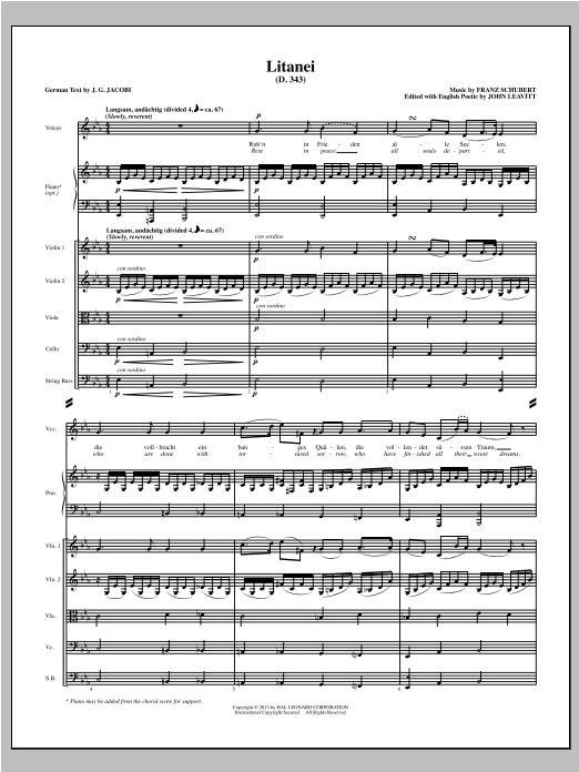 Litanei (COMPLETE) sheet music for orchestra/band (Strings) by John Leavitt