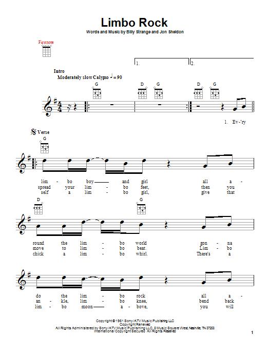 Limbo Rock sheet music for ukulele by Jon Sheldon