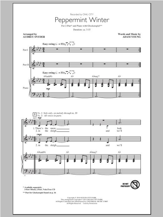 Partition chorale Peppermint Winter de Owl City - 2 voix