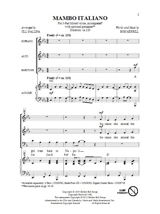 Partition chorale Mambo Italiano de Bob Merrill - 3 voix mixtes