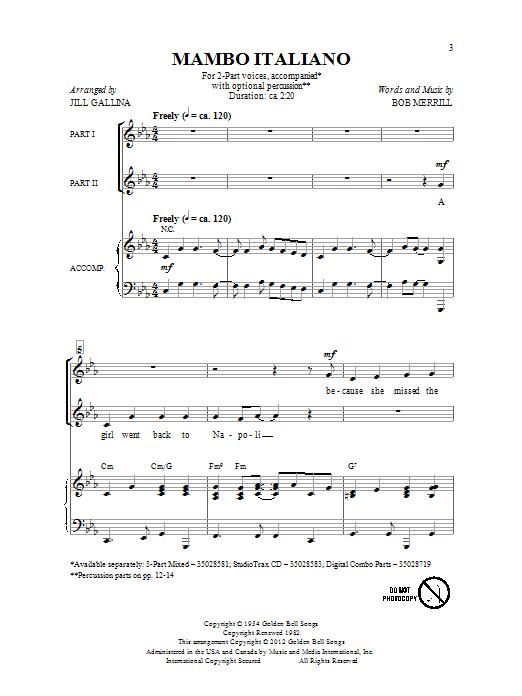 Partition chorale Mambo Italiano de Bob Merrill - 2 voix