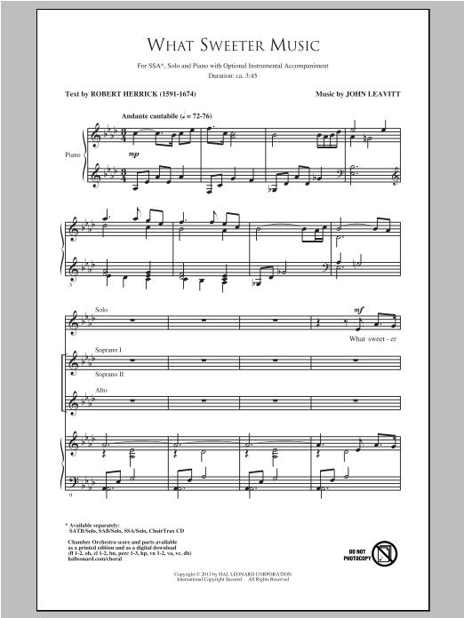 Partition autre What Sweeter Music de Robert Herrick - SSA