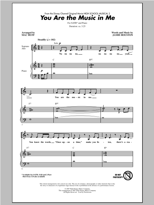 Partition chorale You Are The Music In Me de Mac Huff - SATB