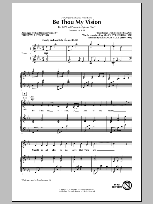Partition chorale Be Thou My Vision de Philip Stopford - SATB