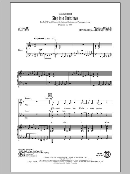 Partition chorale Step Into Christmas de Elton John - SATB