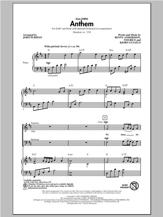 Partition chorale Anthem de John Purifoy - SAB