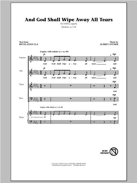 Partition chorale And God Shall Wipe Away All Tears de Audrey Snyder - SATB