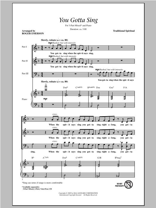 Partition chorale You Gotta Sing de Roger Emerson - 3 voix mixtes