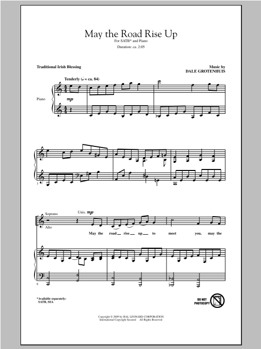 Partition chorale May The Road Rise Up de Dale Grotenhuis - SATB