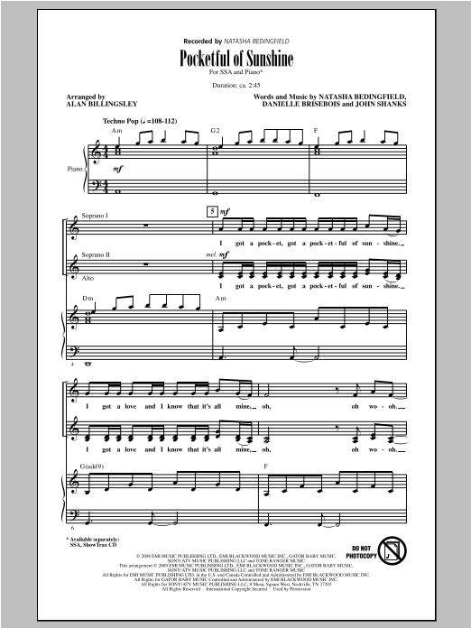 Partition chorale Pocketful Of Sunshine de Natasha Bedingfield - SSA