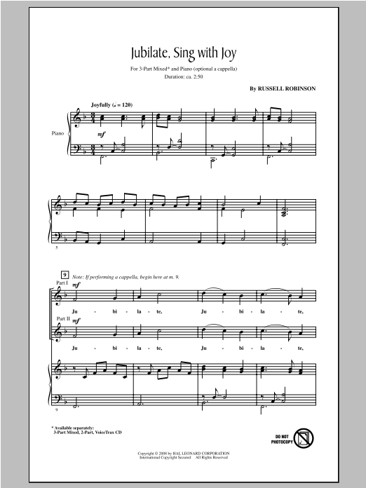 Partition chorale Jubilate, Sing With Joy de Russell Robinson - 3 voix mixtes