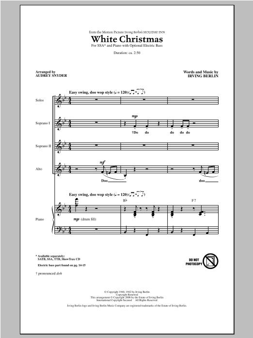 Partition chorale White Christmas de Audrey Snyder - SSA