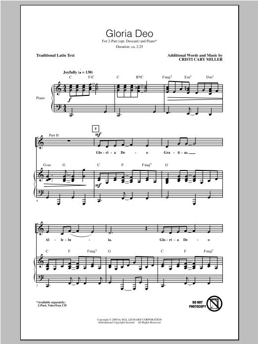 Partition chorale Gloria Deo de Cristi Cary Miller - 2 ou 3 voix mixtes
