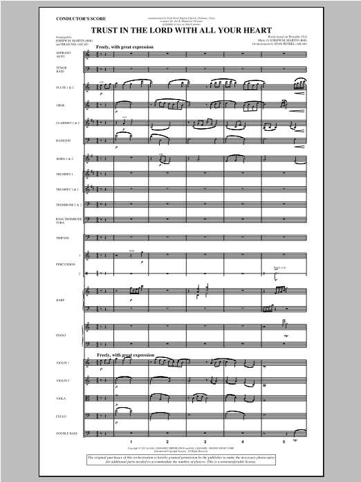 Trust In The Lord With All Your Heart (COMPLETE) sheet music for orchestra/band by Joseph M. Martin