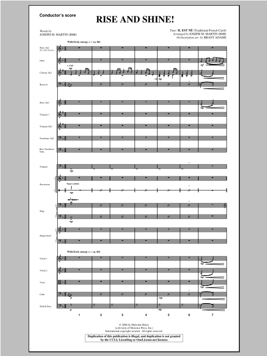 Rise And Shine! (from Ceremony Of Candles) (COMPLETE) sheet music for orchestra/band by Joseph M. Martin