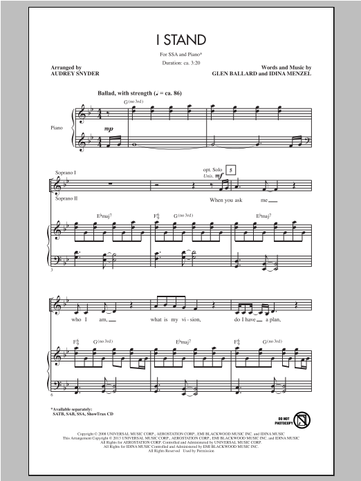 Partition chorale I Stand de Audrey Snyder - SSA