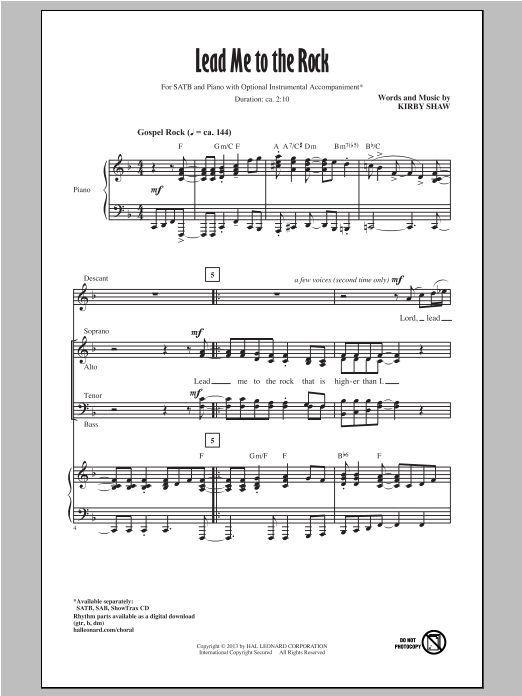 Partition chorale Lead Me To The Rock de Kirby Shaw - SATB