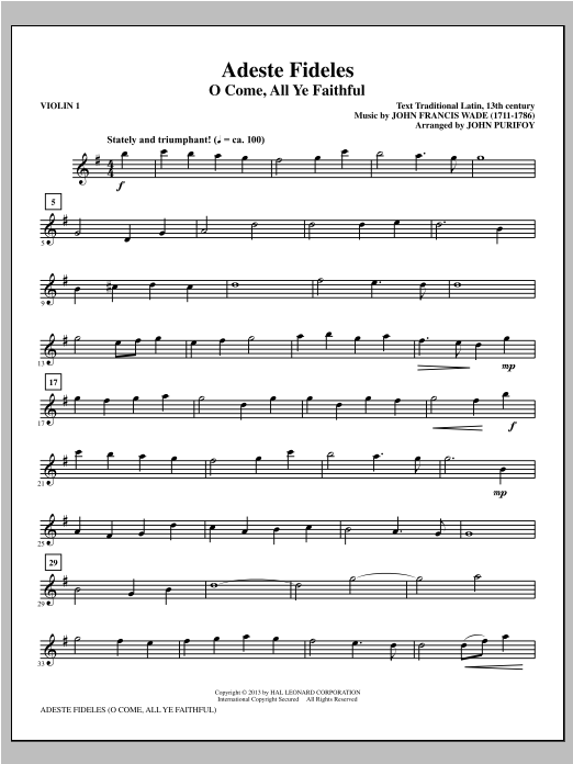 Adeste Fideles (complete set of parts) sheet music for orchestra/band (Strings) by John Purifoy