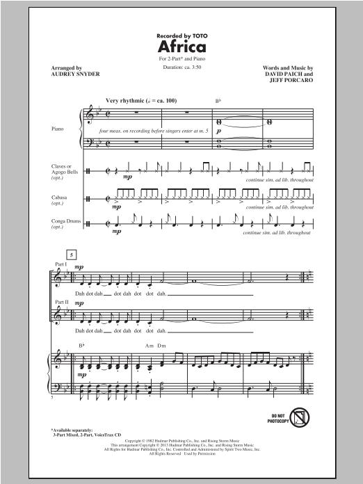Partition chorale Africa de Toto - 2 voix