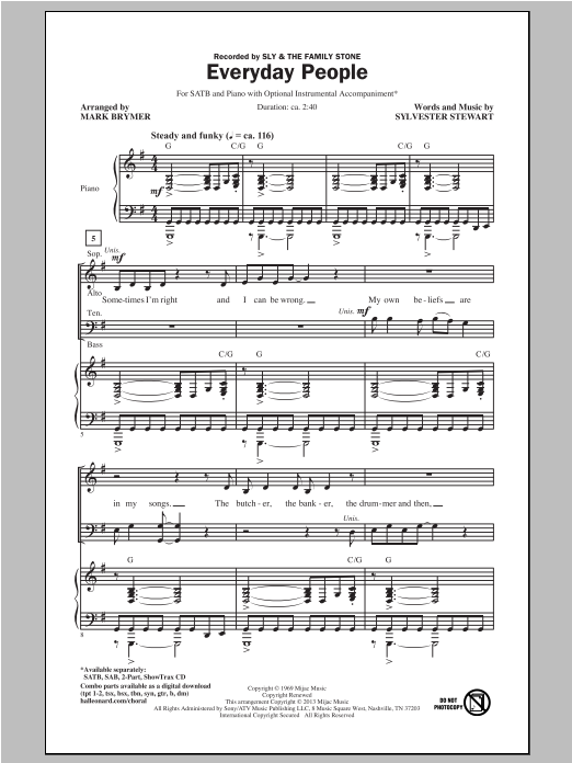 Partition chorale Everyday People de Sly & The Family Stone - SATB