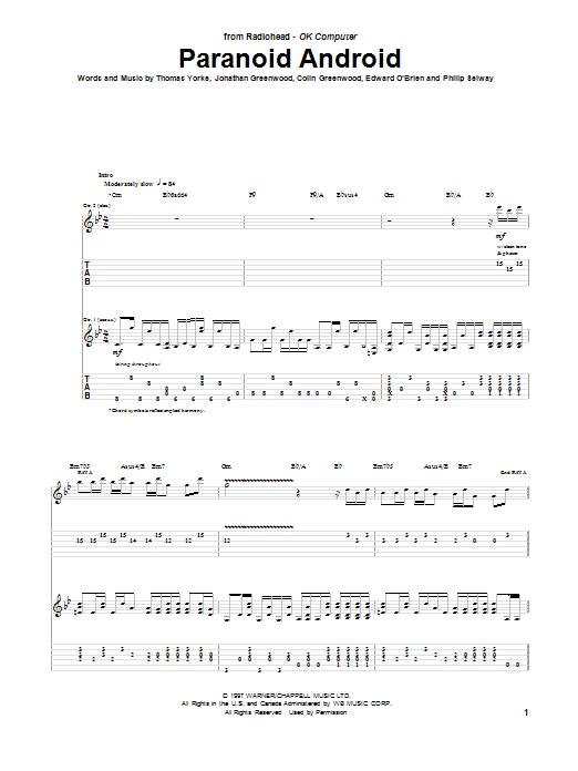Tablature guitare Paranoid Android de Radiohead - Tablature Guitare