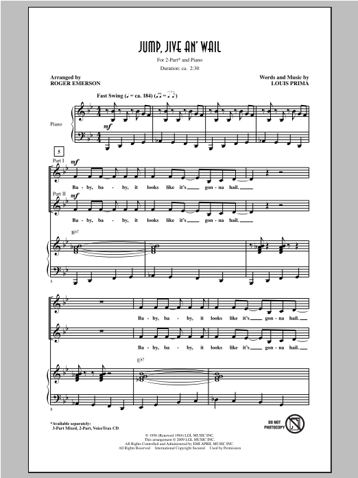 Partition chorale Jump, Jive An' Wail de The Brian Setzer Orchestra - 2 voix