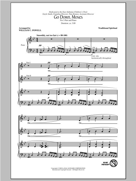 Partition chorale Go Down, Moses de William C. Powell - 2 voix