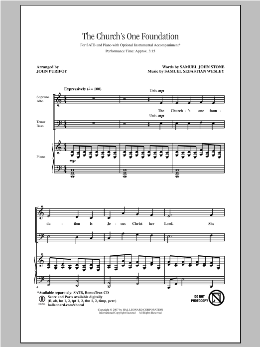 Partition chorale The Church's One Foundation de John Purifoy - SATB