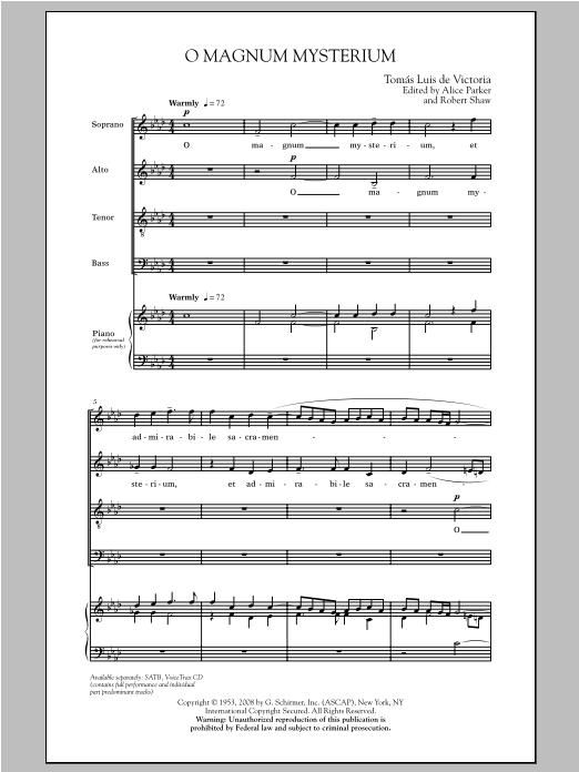 Partition chorale O Magnum Mysterium de De Victoria - SATB
