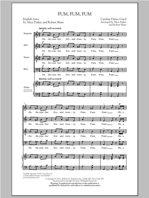 Partition chorale Fum, Fum, Fum de Alice Parker - SATB