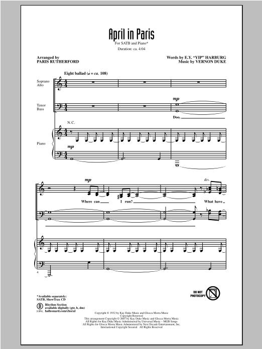 Partition chorale April In Paris de Paris Rutherford - SATB