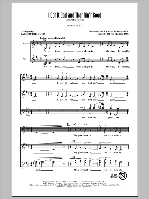 Partition chorale I Got It Bad And That Ain't Good de Paris Rutherford - SATB