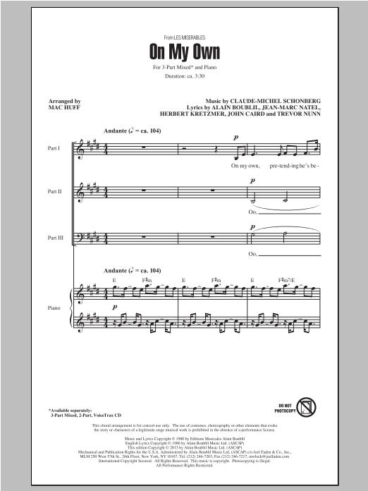 Partition chorale On My Own de Claude-Michel Schönberg - 3 voix mixtes