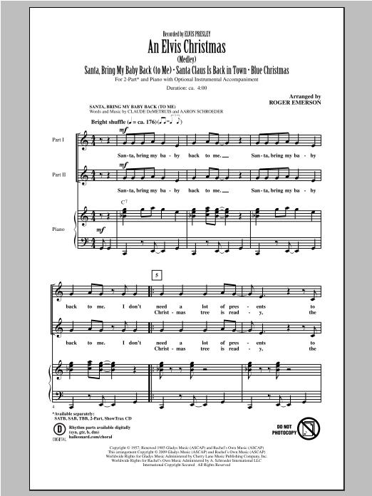 Partition chorale An Elvis Christmas de Elvis Presley - 2 voix