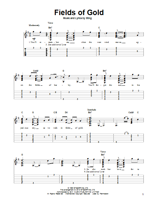 Tablature guitare Fields Of Gold de Sting - Tablature Guitare
