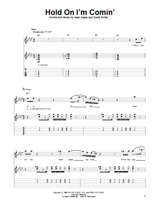 Tablature guitare Hold On I'm Comin' de B.B. King & Eric Clapton - Tablature Guitare