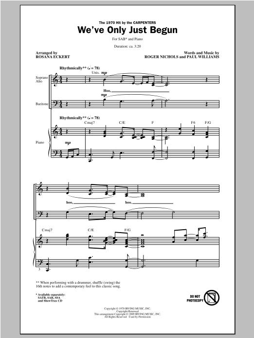 Partition chorale We've Only Just Begun de Rosana Eckert - SAB