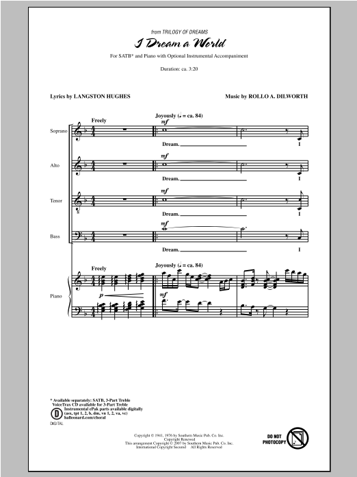 Partition chorale I Dream A World (from Trilogy of Dreams) de Rollo Dilworth - SATB